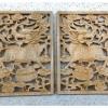 แผ่นไม้แกะสลักศิลปะจีน-กิเลนมงคล 21x27cm คู่ละ