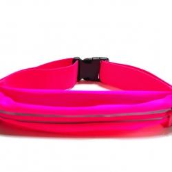 กระเป๋าคาดเอว 1 ซิป เกรด Premium ผ้าสัมผัสเนียนนุ่ม และกันน้ำ (สีชมพู)