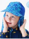 หมวกว่ายน้ำเด็ก หมวกเล่นทรายเด็ก มีผ้าคลุมปิดต้นคอ พร้อมเชือกผูกใต้คาง ลายดาว มีสีฟ้า /ชมพู