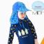 หมวกว่ายน้ำเด็ก หมวกเล่นทรายเด็ก มีผ้าคลุมปิดต้นคอ พร้อมเชือกผูกใต้คาง ลายดาว มีสีฟ้า /ชมพู thumbnail 2