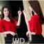Pre-order เสื้อทำงาน สีแดง คอวีแต่งแถบหน้า แขนระบายสองชั้น แต่งดาวห้อยด้านหลังเก๋ไก๋ thumbnail 8