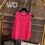 Pre-order เสื้อทำงาน สีชมพูHotpink คอกลมมีปก แขนกุด แต่งระบายชายเสื้อสองชั้น สวยหวานสุดๆ thumbnail 1
