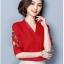 Pre-order เสื้อทำงาน สีิแดง คอวี ปักลายเถาดอกไม้ช่วงแขนสวยงาม thumbnail 8