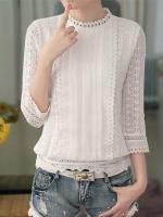 เสื้อลูกไม้สวยๆ แฟชั่นเกาหลี สีขาว แขนสามส่วน เสื้อลายลูกไม้ใส่กับยีนส์ สบายๆ