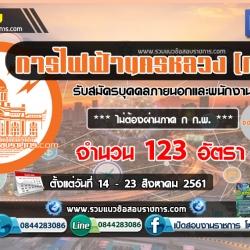 เปิดสอบ การไฟฟ้านครหลวง กฟน. จำนวน 123 อัตรา วันที่ 14 – 23 สิงหาคม 2561