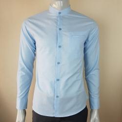 เสื้อเชิ้ตผู้ชายคอจีนสีฟ้า