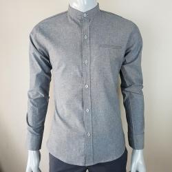 เสื้อเชิ้ตผู้ชายคอจีนสีเทา