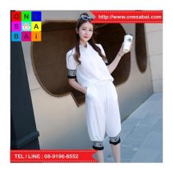 ชุด 2 ชิ้น เสื้อแฟชั่น คอปีน แขนจั๊ม + กางเกง3 ส่วน สีขาว