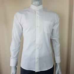 เสื้อเชิ้ตแขนยาวคอจีน สีขาว