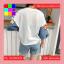 เสื้อแฟชั่น คอกลม แขนผ้าต่อลายการ์ตูน สีขาว thumbnail 7