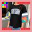 เสื้อแฟชั่น คอกลม แขนผ้าต่อลายการ์ตูน สีดำ thumbnail 6