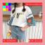 เสื้อแฟชั่น คอกลม แขนผ้าต่อลายการ์ตูน สีขาว thumbnail 6